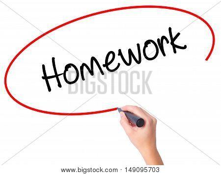 Women Hand Writing Homework With Black Marker On Visual Screen