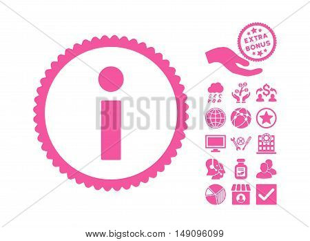 Info pictograph with bonus pictograph collection. Vector illustration style is flat iconic symbols pink color white background.
