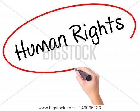 Women Hand Writing Human Rights With Black Marker On Visual Screen