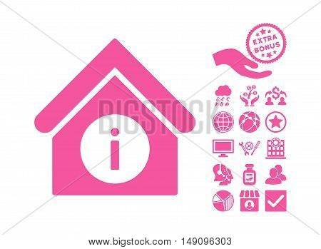 Info Building icon with bonus design elements. Vector illustration style is flat iconic symbols pink color white background.