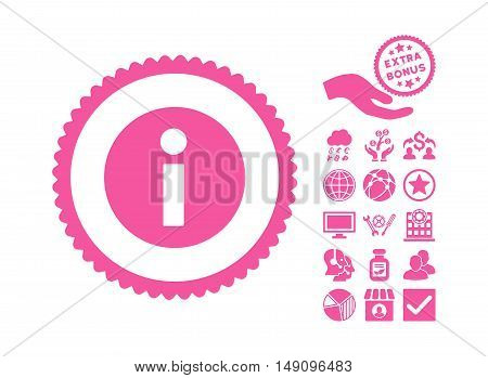 Information pictograph with bonus symbols. Vector illustration style is flat iconic symbols pink color white background.