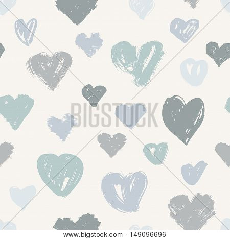 Vector seamless hearts pattern, love theme background in grey colors