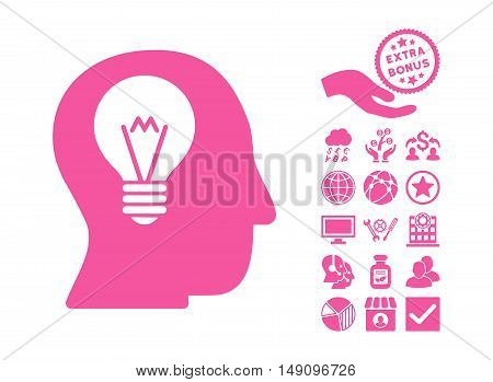 Intellect Bulb icon with bonus pictograph collection. Vector illustration style is flat iconic symbols pink color white background.