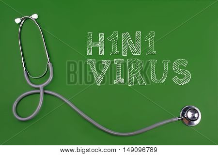 H1N1 Virus disease word with stethscope isolated on green background