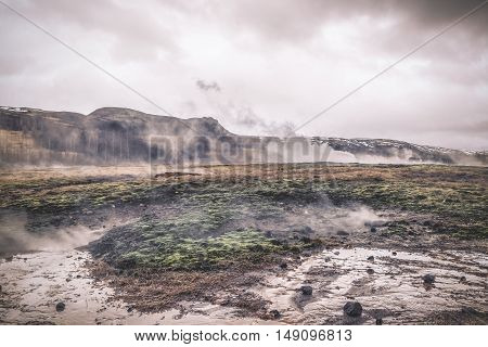 Landscape From Iceland With Steamy Water