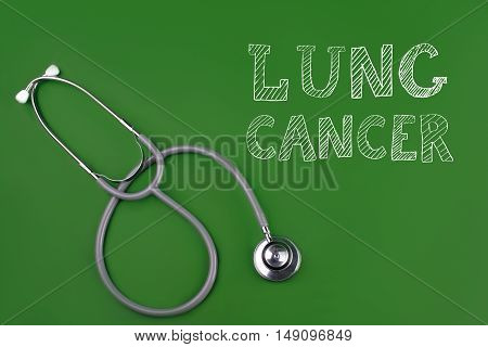 lung cancer disease word with stethscope isolated on green background