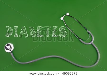 diabetes disease word with stethscope isolated on green background