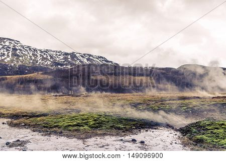 Iceland Scenery With Geothermal Activity