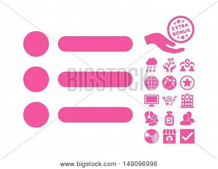 Items pictograph with bonus symbols. Vector illustration style is flat iconic symbols pink color white background.