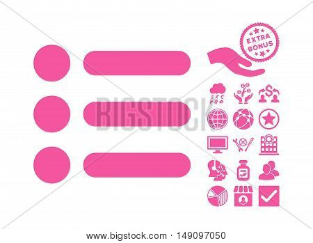 Items icon with bonus clip art. Vector illustration style is flat iconic symbols pink color white background.