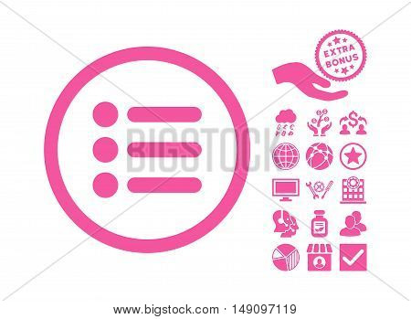 Items icon with bonus pictograph collection. Vector illustration style is flat iconic symbols pink color white background.