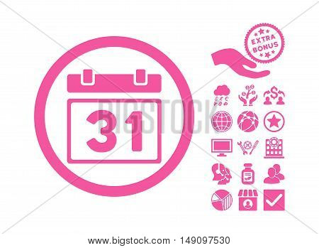 Last Month Day pictograph with bonus pictograph collection. Vector illustration style is flat iconic symbols pink color white background.