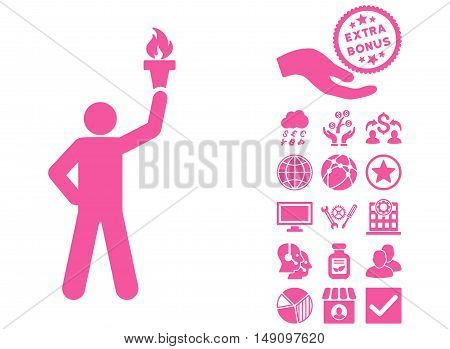 Leader With Freedom Torch pictograph with bonus elements. Vector illustration style is flat iconic symbols pink color white background.