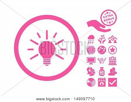 Light Bulb pictograph with bonus pictograph collection. Vector illustration style is flat iconic symbols pink color white background.