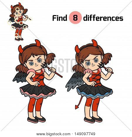 Find differences, education game for children, Devil girl
