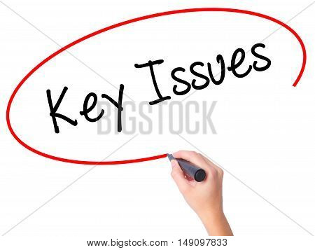 Women Hand Writing Key Issues With Black Marker On Visual Screen