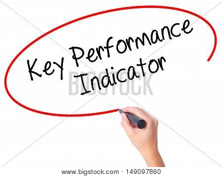 Women Hand Writing Key Performance Indicator With Black Marker On Visual Screen.