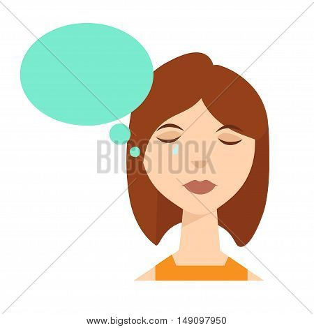 Cry Woman Think with Bubble. Vector illustration