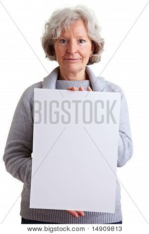 Senior Woman Holding Empty Billboard