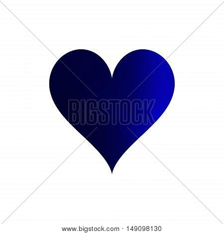 Gradient simple blue heart isolated on white background