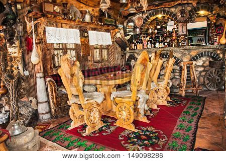 SJENICA, SERBIA - SEP 18, 2016. Traditional  old tavern on Sep 18, 2016  in Sjenica city. Serbia.