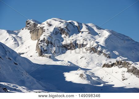 Snowy peak in Ossau Valley, France.