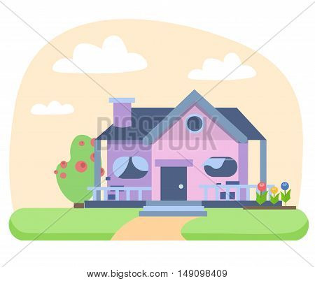 House Building with a Lawn. Flat Design Style. Vector illustration