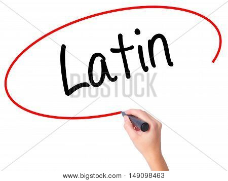 Women Hand Writing Latin With Black Marker On Visual Screen.