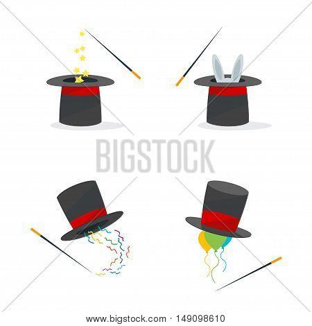 Magic Hat Set and Rabbit. Flat Design Style. Vector illustration