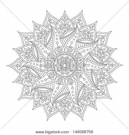 Oriental Mandala Isolated on White Backgroundfor Henna Tattoo and for Your Design. Vector illustration