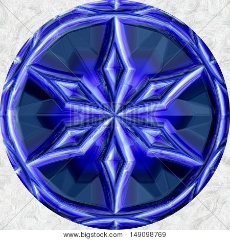 Blue ball sphere round circle orb with ornamental star