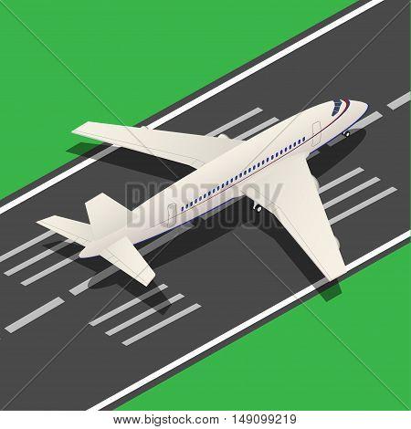 Passenger Airplane Isometric Landing from Runway. Vector illustration