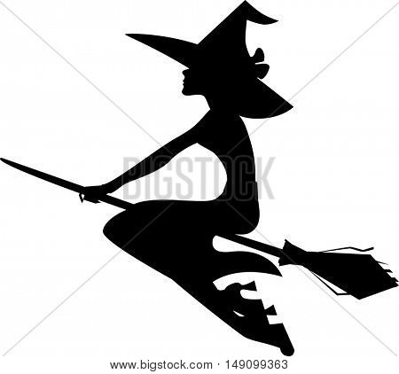 silhouette witch on broom, isolated image of halloween