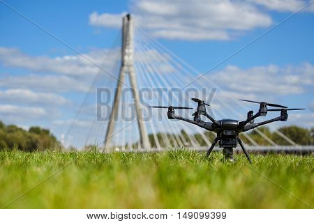 Professional drone on ground. Low DOF