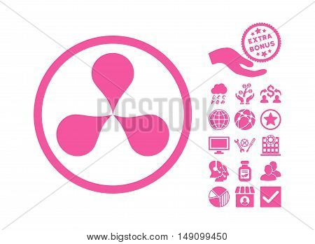 Map Pointers pictograph with bonus images. Vector illustration style is flat iconic symbols pink color white background.