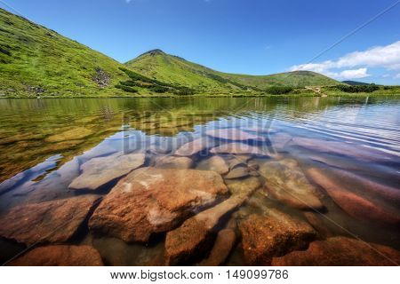 lake in mountain on summer time