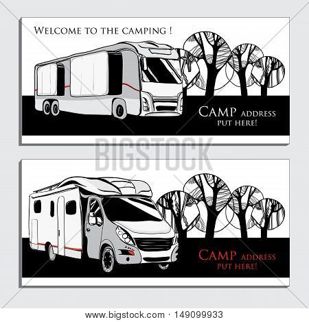 Vector illustration of cars Recreational Vehicles Camper Vans Caravans business card, icon, card template. Transport for Camp. Black and white graphic design.