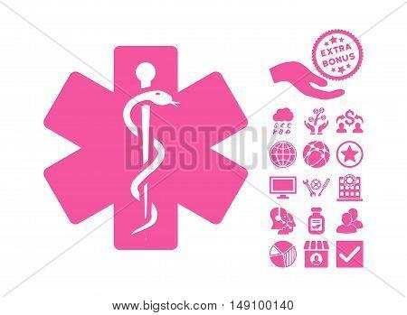 Medical Emblem pictograph with bonus elements. Vector illustration style is flat iconic symbols pink color white background.
