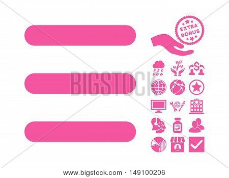 Menu Items icon with bonus design elements. Vector illustration style is flat iconic symbols pink color white background.