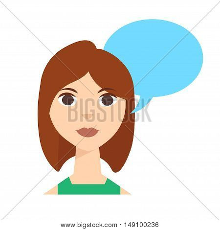 Say Woman with Speech Bubble. Vector illustration