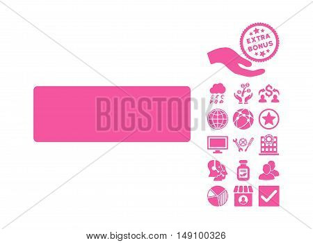 Minus pictograph with bonus pictograph collection. Vector illustration style is flat iconic symbols pink color white background.