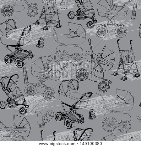Vector illustration of hand drawn seamless pattern of baby prams, carriages and strollers. Baby walker. Template for wrapping paper, wallpaper, newspaper and printable.