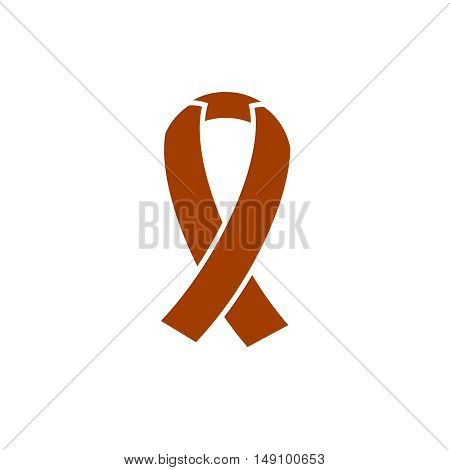 Ribbon, breast cancer awareness symbol isolated on white background, stylish vector illustration for web design