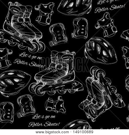 Vector illustration of hand drawn seamless pattern Roller Skates, roller blades with protection and text. Sport for teenager. Wrapping paper, wallpaper and printable