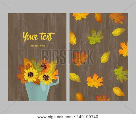 Double-sided postcard bouquet of autumn leaves and flowers yellow, orange, brown in cup on wooden background, template, vector illustration