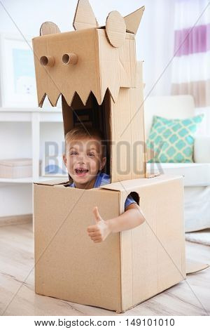 Little boy playing with cardboard box indoors