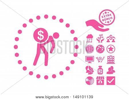 Money Courier pictograph with bonus pictures. Vector illustration style is flat iconic symbols pink color white background.