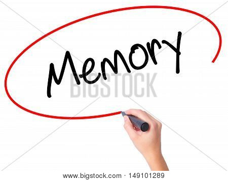 Women Hand Writing Memory  With Black Marker On Visual Screen