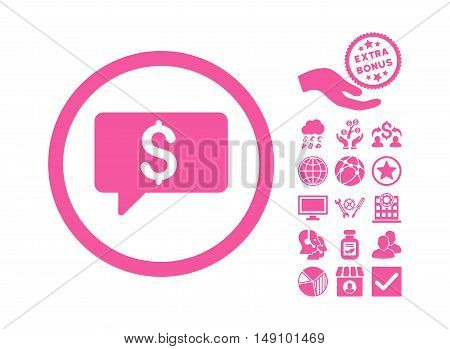 Money Message pictograph with bonus pictogram. Vector illustration style is flat iconic symbols pink color white background.