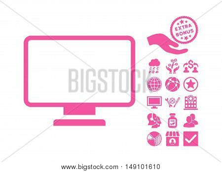 Monitor pictograph with bonus pictogram. Vector illustration style is flat iconic symbols pink color white background.